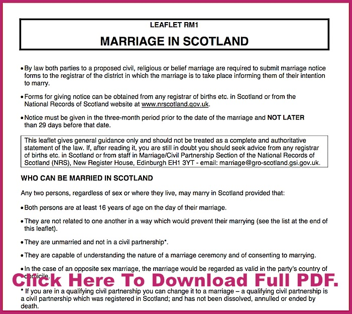 Scottish Marriages Legal Requirements Document