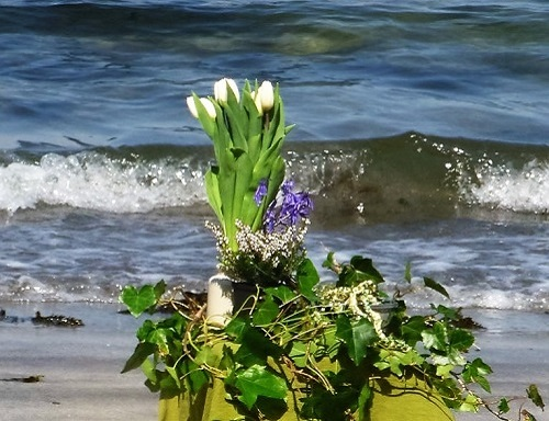 HandFasting Ceremony Beach Alter With Flowers